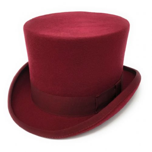 "Maroon Red Traditional Top Hat 5¼"" Wool Felt"